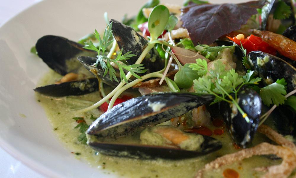 clams, pasta, greens